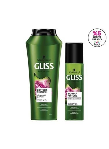 Gliss Bio-Tech Restore Güçlendirici Set (şampuan 500 Ml + Durulanmayan Sıvı Saç Kremi 200 Ml)  Renksiz